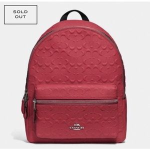 NWT COACH MED Charlie Backpack Washed Red …